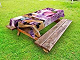 Lunarable Spa Outdoor Tablecloth, Aromatic Spa with Lilac Petals Fresh Therapy Oils Bath Salt Soap Relax Meditation Collage, Decorative Washable Picnic Table Cloth, 58 X 84 inches, Violet