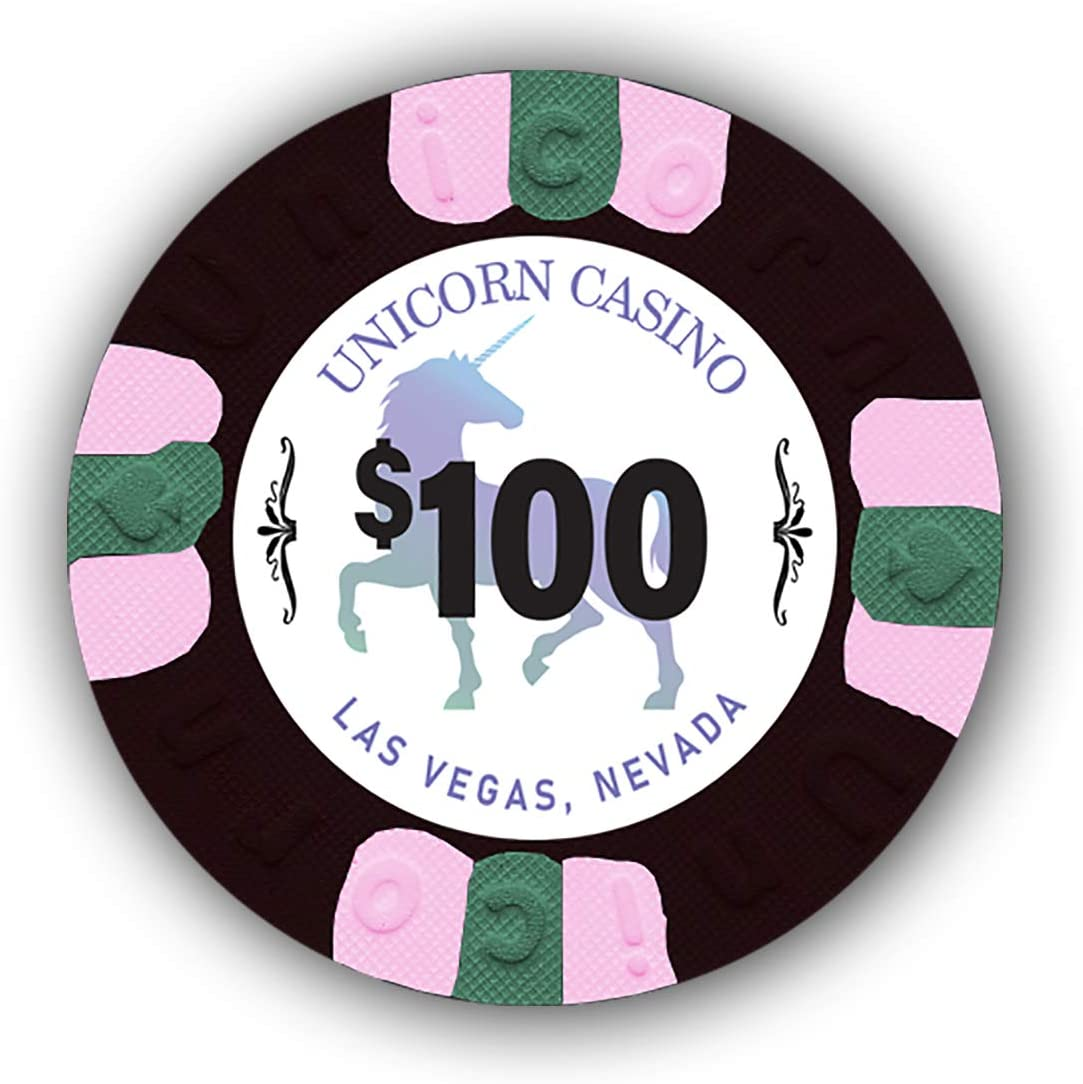 Authentic Casino Weighted Chips DA VINCI Pack of 50 Unicorn All Clay 8.5 Gram Poker Chips with Denominations
