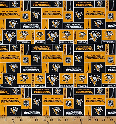 Cotton Pittsburgh Penguins Block NHL Hockey Sports Team Cotton Fabric Print by The Yard (D160.06)