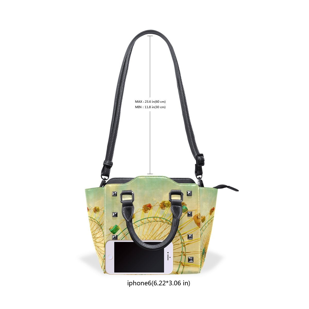 Jennifer PU Leather Top-Handle Handbags Ferris Wheel Art Single-Shoulder Tote Crossbody Bag Messenger Bags For Women