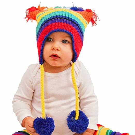 ce8a0f495 Amazon.com: Huggalugs Baby and Toddler Retro Rainbow Beanie Hat ...