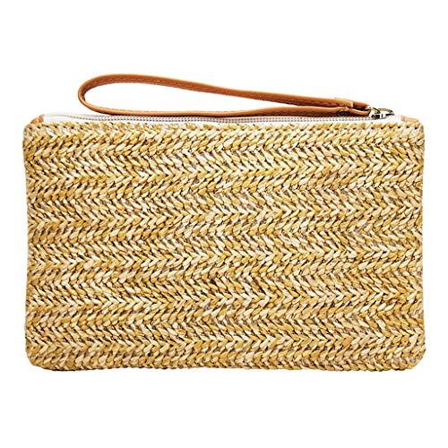 Women Fashion Straw Handmade Handbag Bucket Tote Shape Solid Weaving Purse Bag (Beige)