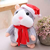 Bisnuy Cheeky Hamster Talking Mouse pet Christmas Toy Speak Sound Record Hamster Gift - Gray