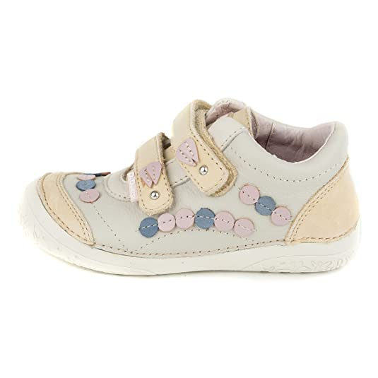 D.D. Step girls' sneakers, genuine leather, white and beige with double  velcro strap (030-7): Amazon.ca: Shoes & Handbags