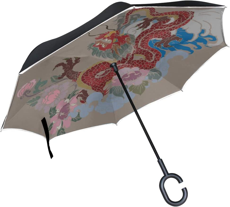 Double Layer Inverted Inverted Umbrella Is Light And Sturdy Red Dragon Tattoo Dragon Tattoo Reverse Umbrella And Windproof Umbrella Edge Night Reflec