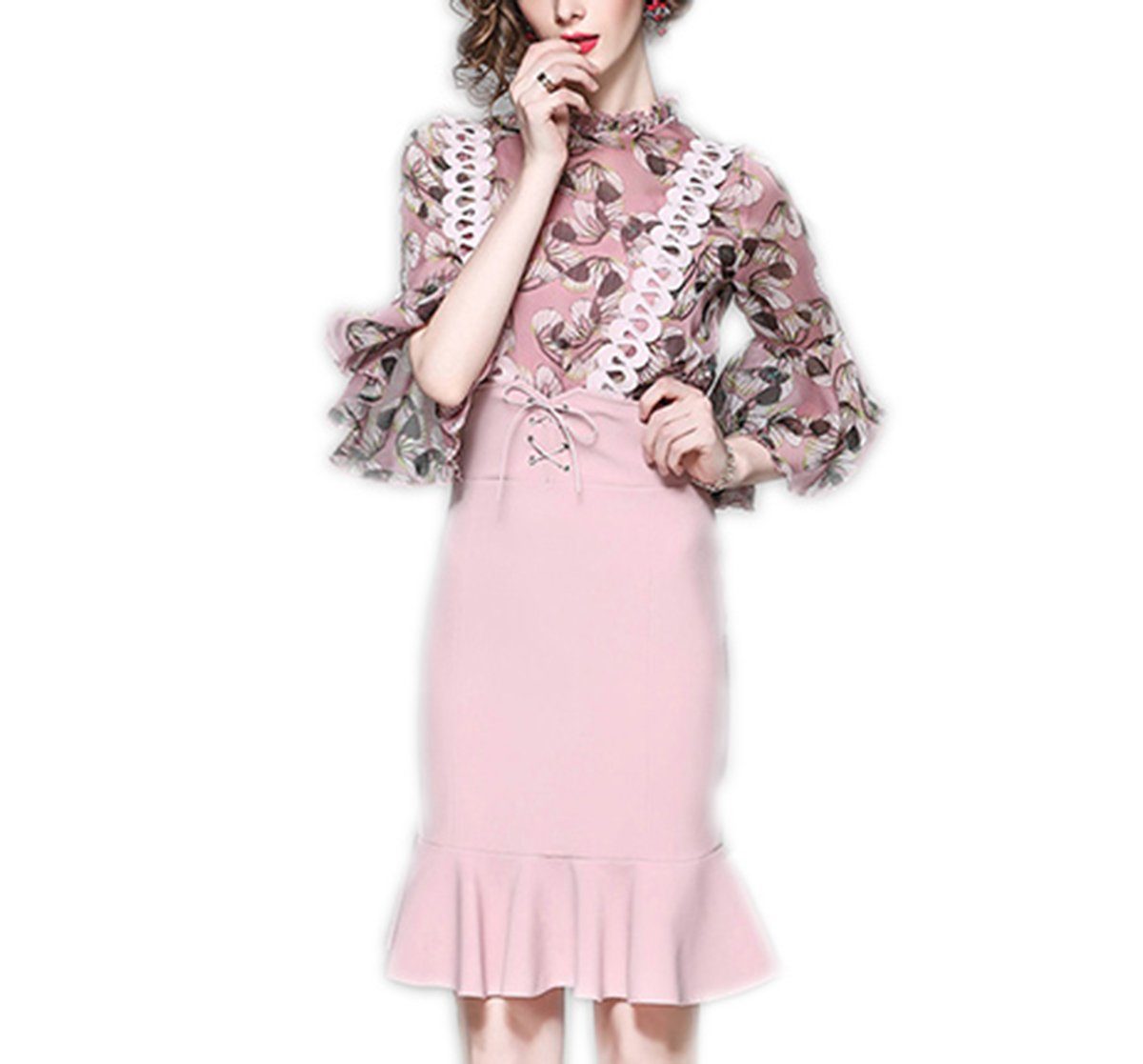 Weing Spring Summer Woman Print Pink Blouse Lace Strap Pink Skirt Overalls Vintage Cute Outfit Pink XL by Weing