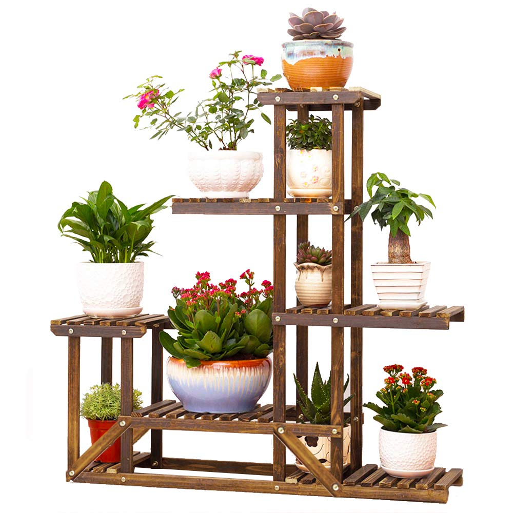 Wooden Plant Flower Display Stand Wood Pot Shelf Storage Rack Outdoor Indoor 6 Pots Holder 96x95x25cm