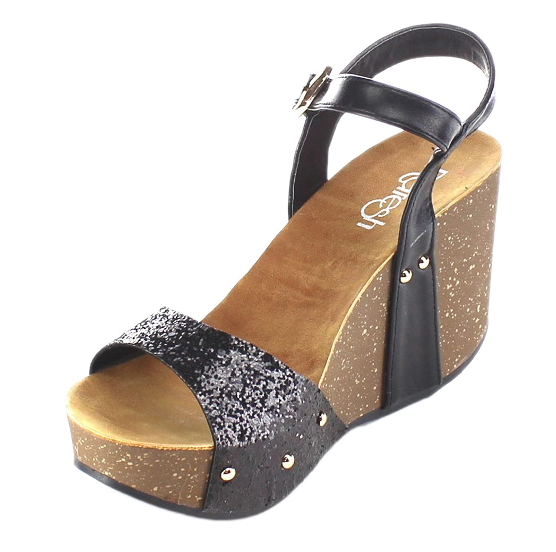 Black glitter sandals - Refresh Women S Mara 08 Platform Cork Wedge Glitter Sandal 10 B M Us Black