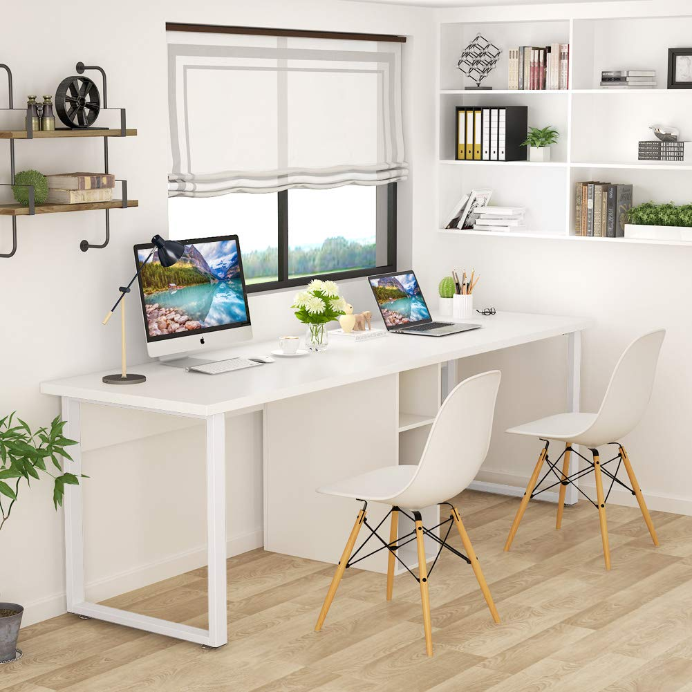 LITTLE TREE 78'' Extra Large Double Workstation Computer Desk for Two Person, Simple Modern Style Office Desk with Storage (White Finish)