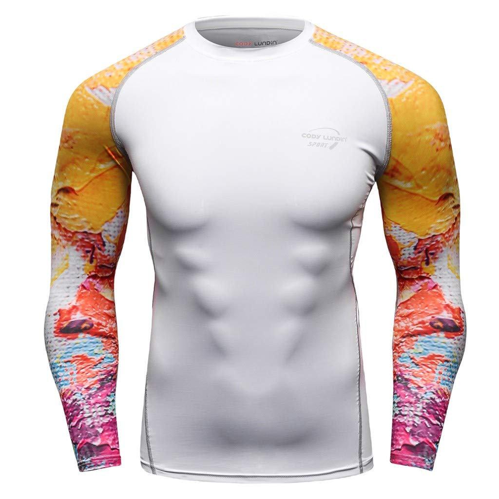 Cool1980s Fashion Mens Long Sleeve Yoga Fitness Print Soft T-Shirt Top Blouse