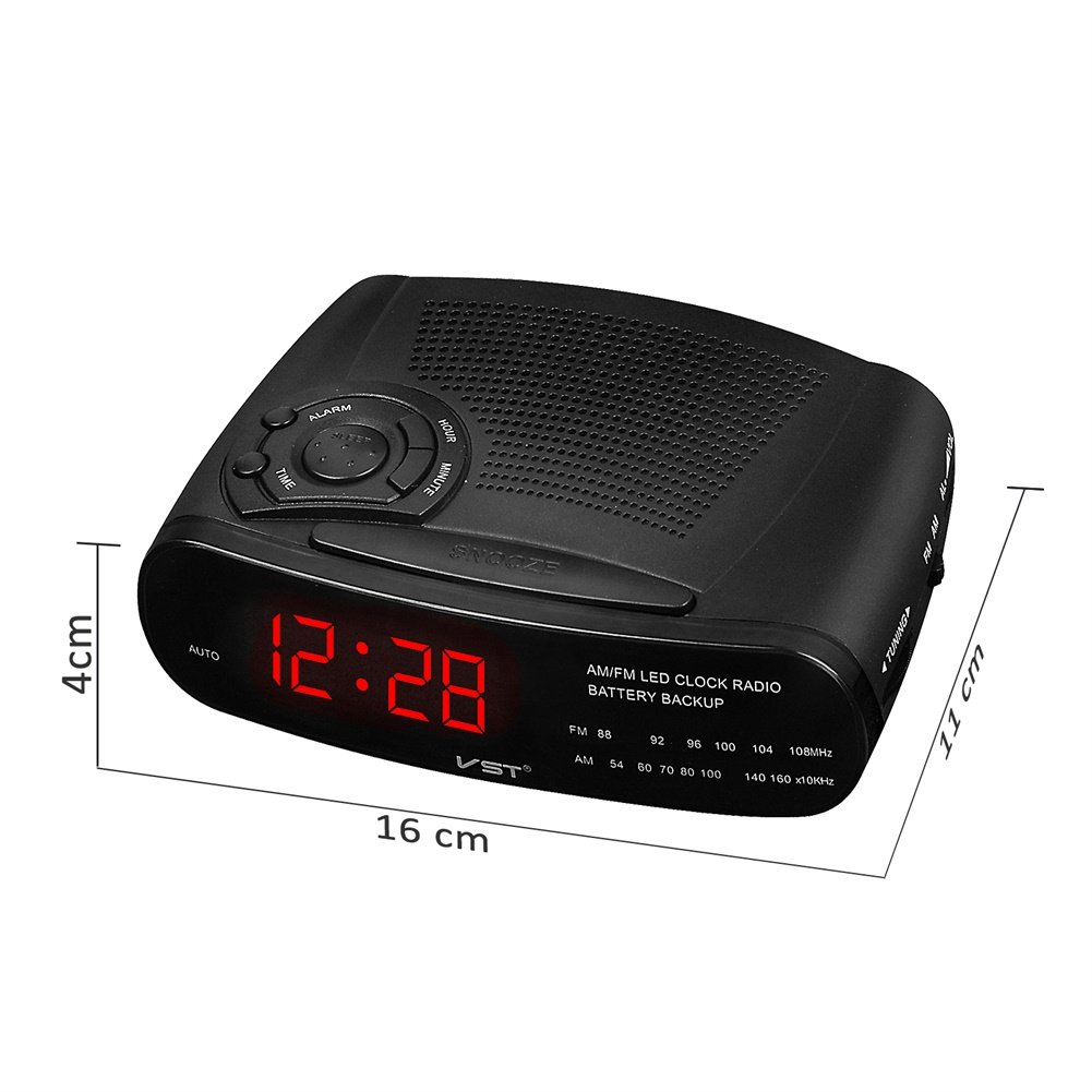 Amazon.com: XuBa Alarm Clock Radio with AM/FM Digital LED Display with Snooze, Battery Backup Function: Home & Kitchen