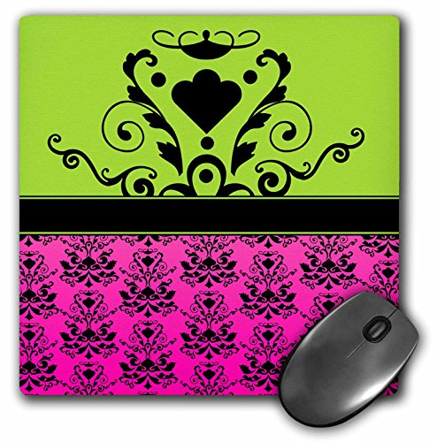 3dRose Hot Pink & Apple Green Print with Single Damask Medallion - Mouse Pad, 8 by 8