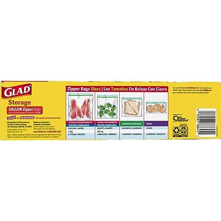 Amazon.com: Glad® Zipper Food Storage Plastic Bags - Gallon ...