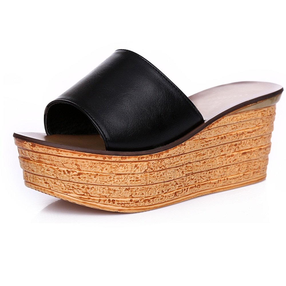 ZHANGRONG-- Sandalias Sandalias de cuña Moda Waichuan Tarta de bizcocho de espesor Pendiente con zapatillas Sandalias de tacón alto, Sandalias de verano, Calzado de vestir, Sandalias de mujer ( Color : Blanco , Tamaño : EU36/UK3.5/CN35 )
