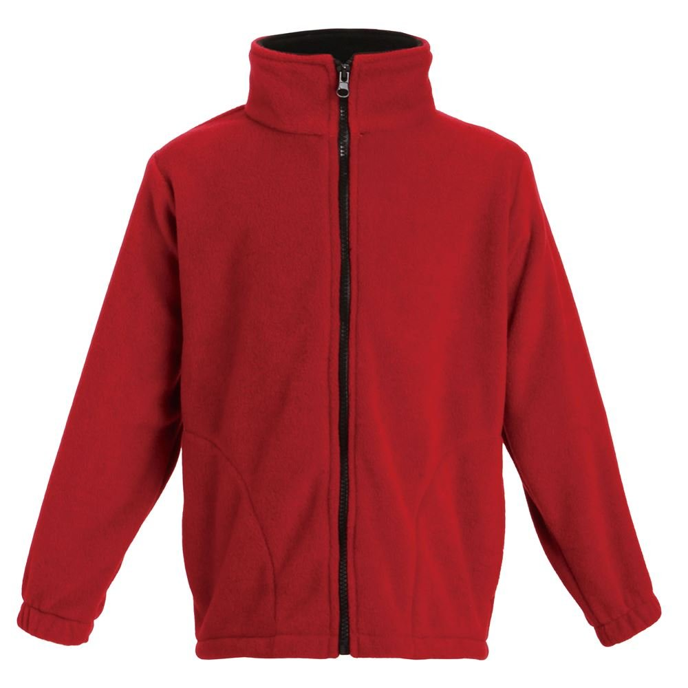 Landway Girl's Premium Fleece Youth Jacket, Red/Black, Small by Landway