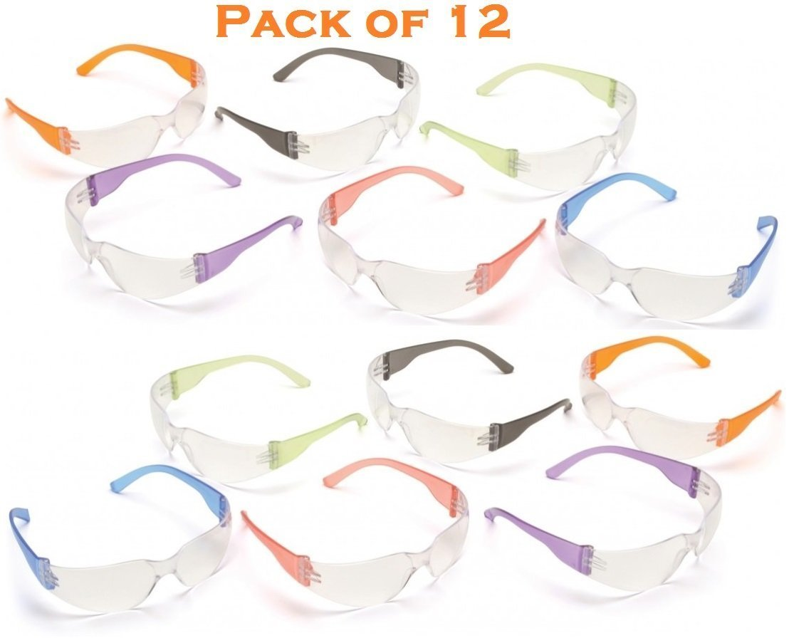 Safety Eyewear UV Protection Glasses By Tuff America - Clear Lens & Colored Temple -Pack Of 12