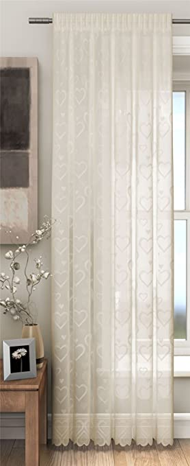 Champagne Cream Voile Curtain Panel, Embroidered Love Hearts Lace ...