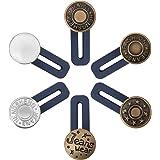 6 PCS Pants Extender Button, Luxiv Waistband Extender Buttons for Men and Women, Jeans Waist Extender Metal Buttons No Sew Bu