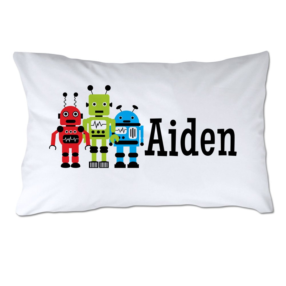 Personalized Toddler Size Robots Pillowcase with Pillow Included