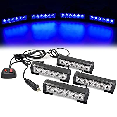 FOXCID 4 X 6 LED 7 Modes Traffic Advisor Emergency Warning Vehicle Strobe Lights for Interior Roof/Dash/Windshield/Grille/Deck Universal Waterproof Blue: Automotive