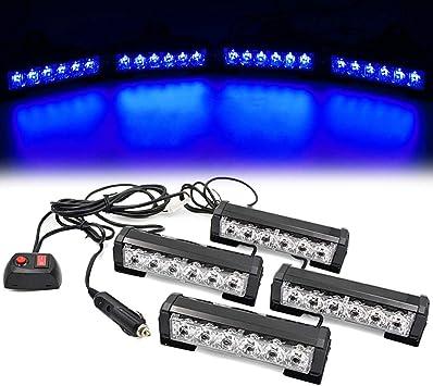 FOXCID 4 X 6 LED 7 Modes Traffic Advisor Emergency Warning Vehicle Strobe Lights for Interior Roof//Dash//Windshield//Grille//Deck Universal Waterproof White Amber