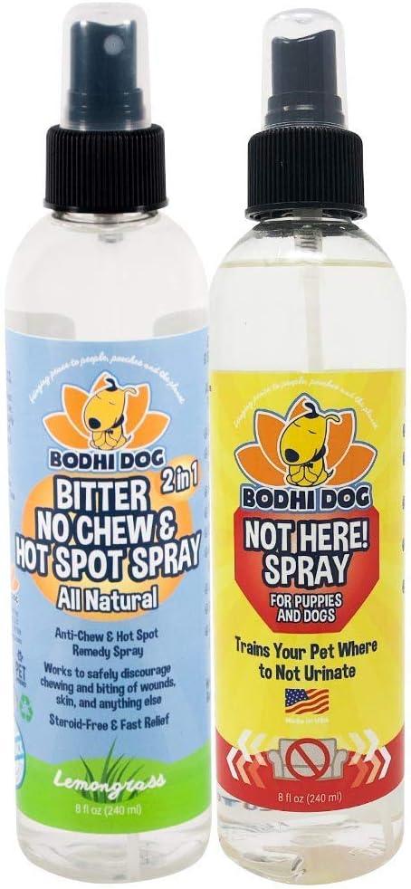 Bodhi Dog Bitter 2 in 1 No Chew & Hot Spot Spray 8oz + Not Here Spray 8oz Bundle