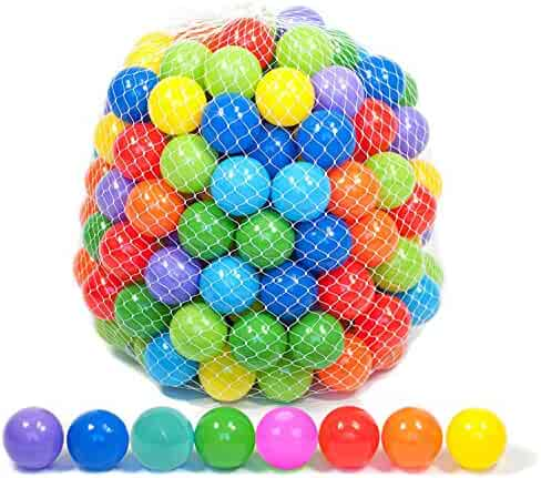 Playz 50 Soft Plastic Play Balls w/ 8 Vibrant Colors - Crush Proof, No Sharp Edges, Certified Non Toxic, Phthalate & BPA Free - Use in Baby or Toddler Ball Pit, Play Tents & Tunnels Indoor & Outdoor