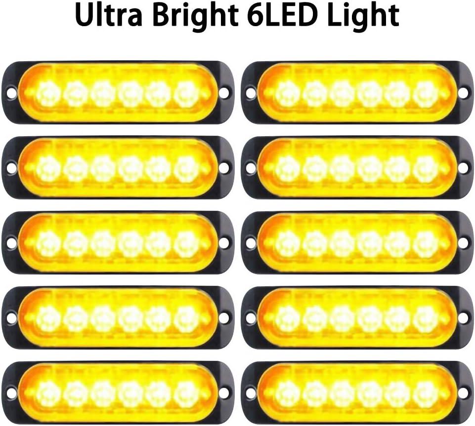 Everrich 10pcs Ultra Slim 6-LED Surface Mount Grille Flashing Strobe Lights for Truck Car Vehicle Emergency Beacon Hazard Warning lights 12-24V Amber