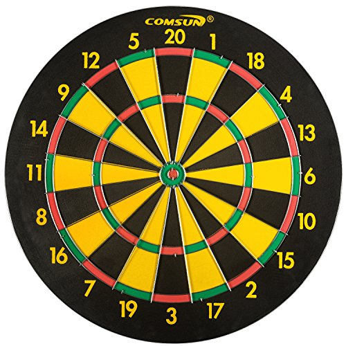COMSUN Steel Tip Dart Board, 18 Inch Scoreboard for Leisure Sport Games Yellow