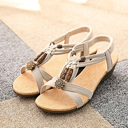 Damen Sommer Schuhe Xinan Peep Toe Flache Schnalle Beige - hm ... 74bdb9b65f