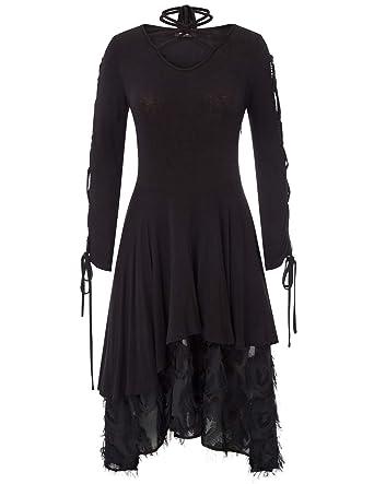b50d37f991 Women Vintage Steampunk Gothic Victorian Lace Tie Neck Dress Black ...