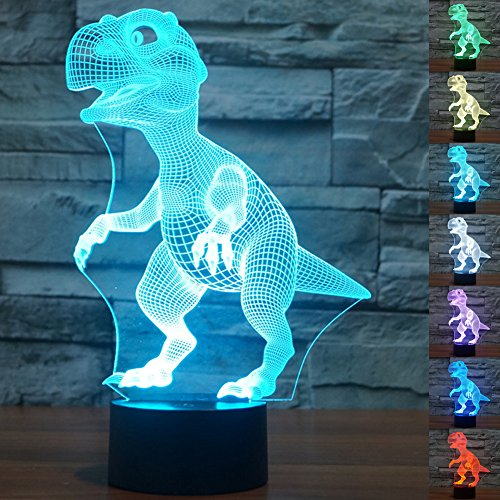 Ideas For Christmas Presents Mum - LED Night Light 3D Illusion Bedside Table Lamp 7 Colors Changing Sleeping Lighting with Smart Touch Button Cute Gift Warming Present Creative Decoration Ideal Art and Crafts (Dinosaur)
