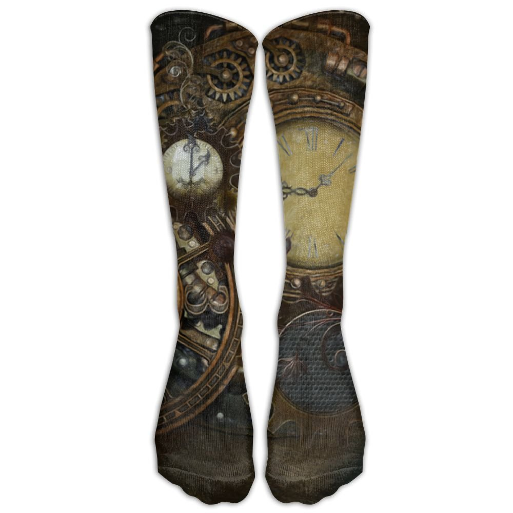 Style Unisex Socks Casual Knee High Stockings Steampunk Clocks Cotton Socks One Size