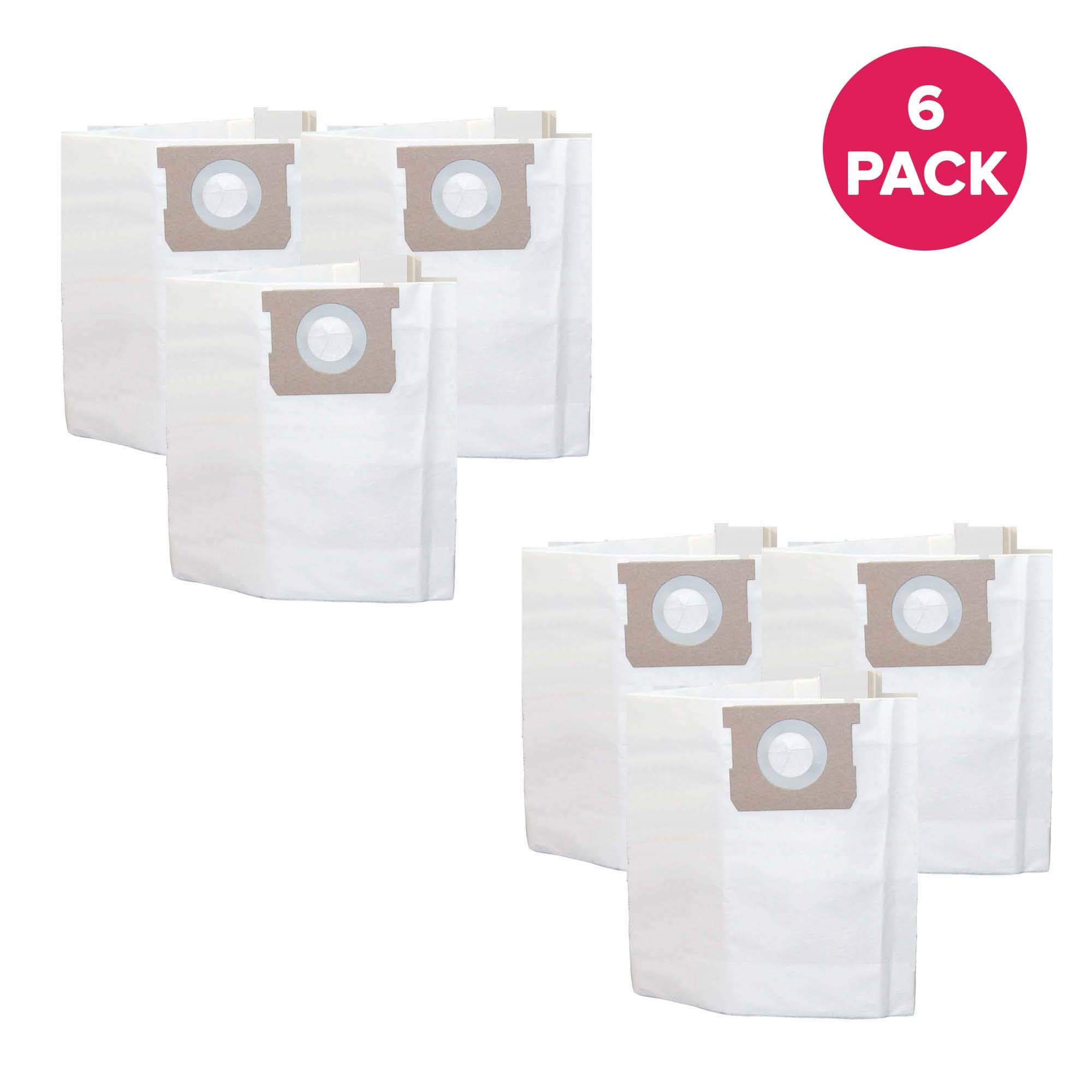 Crucial Vacuum Replacement Filtration Bags Compatible With Shop Vac Type H Bags Part # SV-9066100, 5 to 8 Gallon and Models Shop Vac 5 Gallon, 6 Gallon, 8 Gallon Wet and Dry Vacuum (6 Pack)