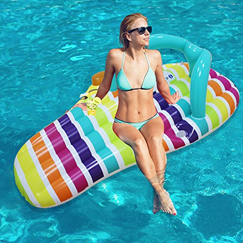 Flip Flop Pool Float Giant Inflatable Pool Float Jumbo for Swimming Pool Party Stripe Style