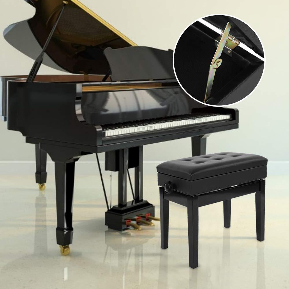Blanco Asiento Acolchado PU Banco de Piano con Espacio de Almacenamiento y Altura Ajustable Patas de Madera Maciza Taburete de Piano Regulable