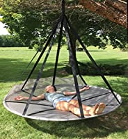 Flower House Fhfssvr Flying Saucer Hanging Hammock Chair With Bird Bug Net Silver Amazon Co Uk Garden Outdoors
