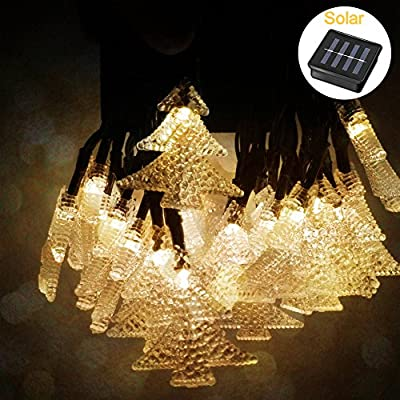Tepoinn Christmas LED Lights,21ft 30 Waterproof Solar Powered Starry String Light Fairy Lights with Christmas Tree Accessories for Christmas Decoration, Wedding, Party,Holiday (30 LED,Warm White)