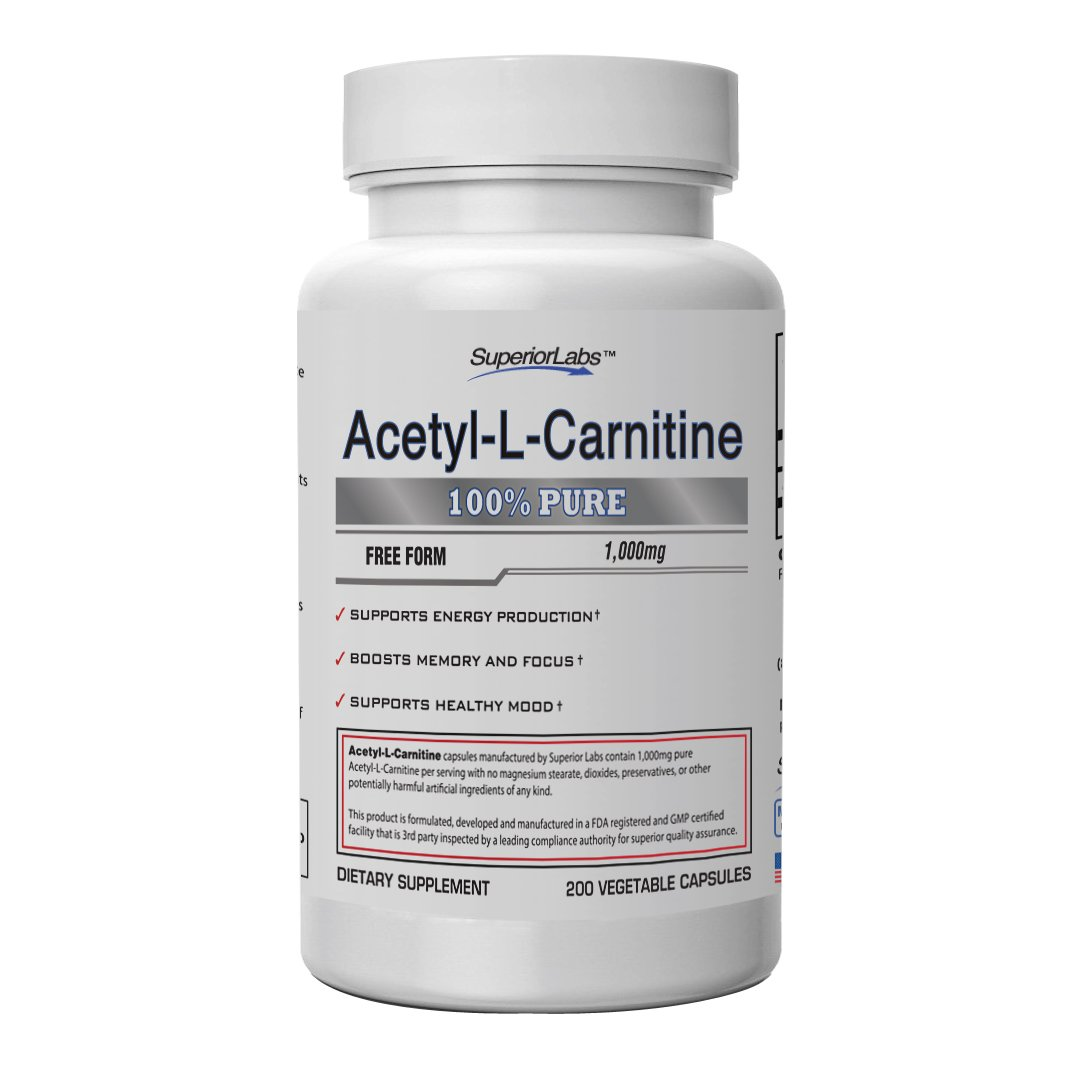 Superior Labs Acetyl L-Carnitine   100% Pure   1000mg Per Serving   Pure Vegetable Capsules   Zero Synthetic Additives   Superior Absorption
