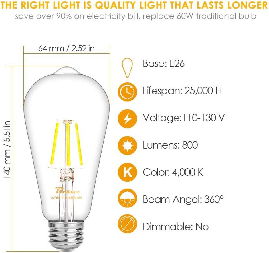 E26 Base 2,700K Soft White Pendant Ceiling Chandelier Lamps 60W Equivalent 800lm Clear Glass by BRILLIRARE 6 Pack Vintage LED Edison Bulb Antique LED Filament Light Bulbs ST64 Warm White