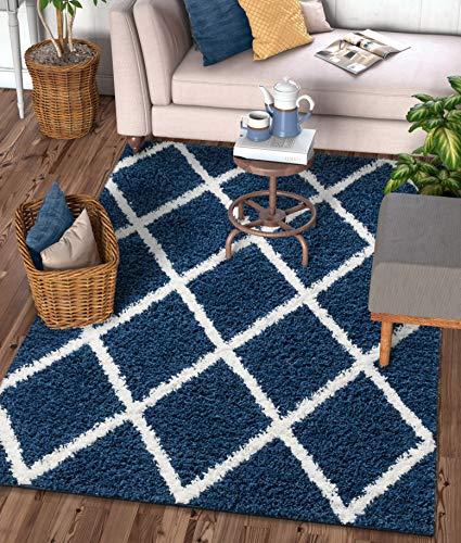 Well Woven Moroccan Trellis Indigo Blue Soft Shag Area Rug 5x7 (5'3
