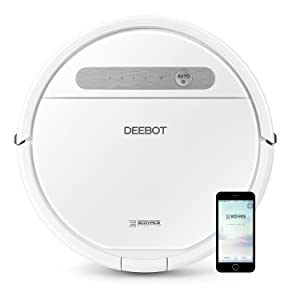 ECOVACS Deebot 610, Smart Robotic Vacuum, for Carpet, Bare Floors, Pet Hair, OZMO Mopping Technology, Alexa Compatible, White, 12 Pound