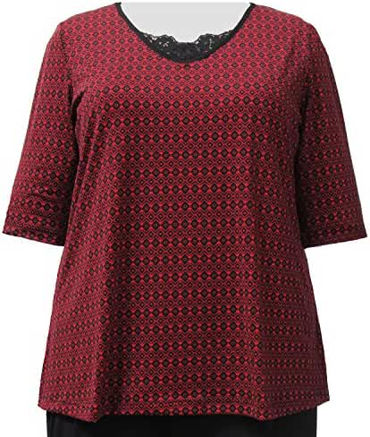 Red Dobbi 3/4 Sleeve Pullover Top Woman's Plus Size Top