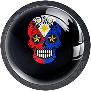 Filipino Flag Sugar Skull with Roses,Drawer Pulls Knobs Cabinet Handles,4 Pack Kitchen Cabinet Pulls Cabinet Knobs