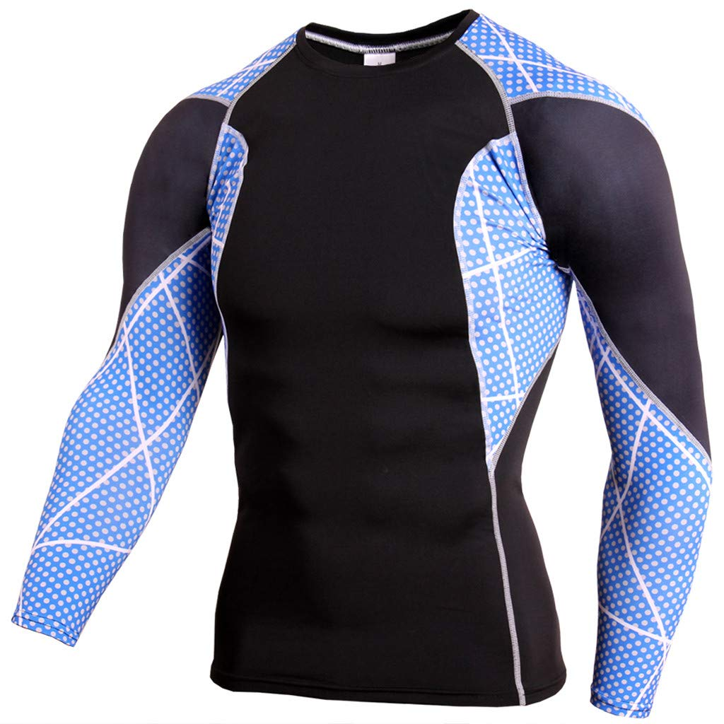 48c1d2fae Amazon.com: Hosamtel Men Long Sleeve Sport T-Shirt Cool Dry Patchwork Print  Compression Athletic Shirt Fitness Workout Running Tops: Clothing