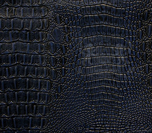 Vinyl Fabric Crocodile Allie NAVY BLUE Fake Leather Upholstery / 54