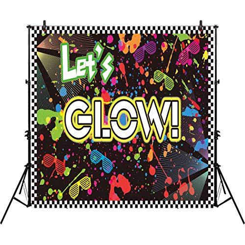 Allenjoy 8x8ft Let's Glow in the Dark Theme Birthday Backdro