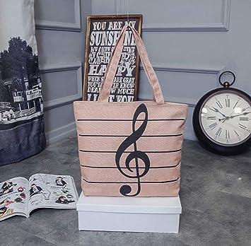 HOODDEAL Women's Girls' Music Symbols Print Canvas Tote Shopping Handbags  Shoulder Bags (Brown)