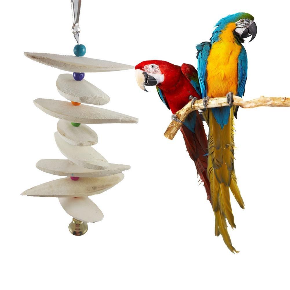 Kbsin212 Cage Oiseau Jouet Perroquet, seiche os à mâcher Jouet Perroquet Calcium molaires écureuil Morsure à mâcher Jouet Perroquet molaires Suspendus chaîne Naturel Animal