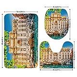 3 Piece Bathroom Mat Set,Italy,Fountain Di Trevi Famous Travel Destination Tourist Attraction European Landmark,Multicolor,Bath Mat,Bathroom Carpet Rug,Non-Slip